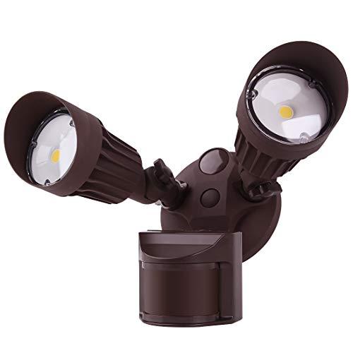 JJC LED Security Lights Motion Sensor Flood Light Outdoor Fixture,2000LM 20W(120W Equiv.) IP65 Waterproof,5000K Daylight White ETL Listed Outdoor Lighting Brown