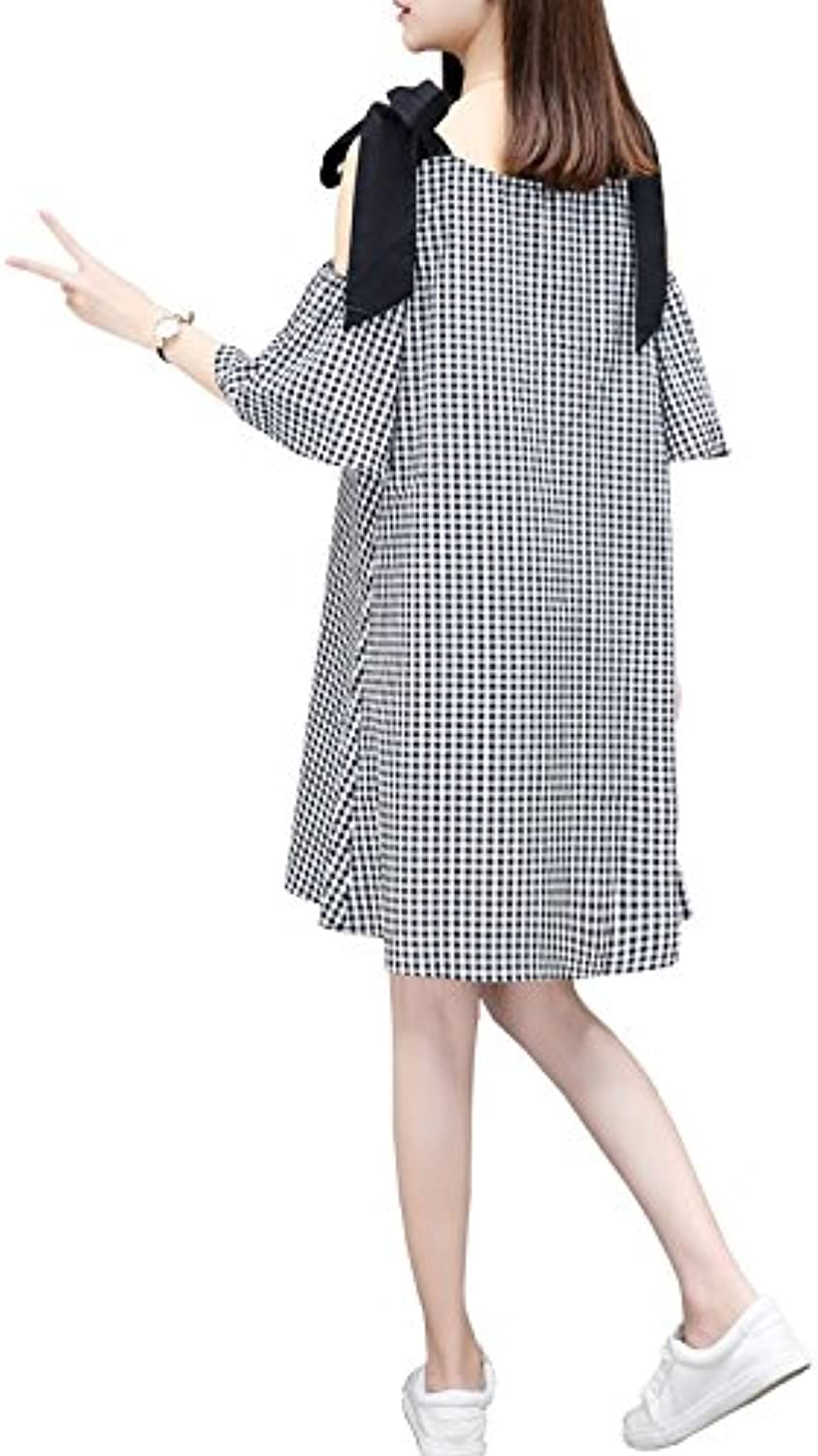 XIURONG Spring and Summer Leisure Dress Female Strapless ALine A Thin Loose Doll Dress