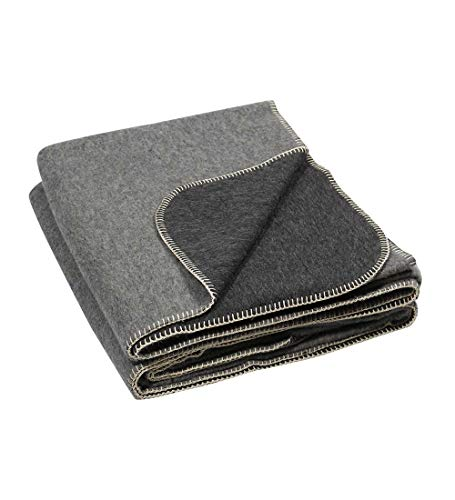 Thick Alpaca Wool Blanket – Heavyweight Alpaca Wool Blanket for Camping Outdoors or Using Indoors | Soft Peruvian Alpaca Wool Blankets (Gray/Charcoal Gray, King)
