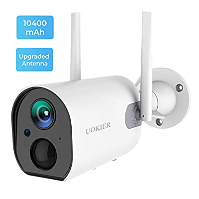 Outdoor Security Camera Wireless Rechargeable 10400mAh Battery Powered WiFi Surveillance Camera with Upgraded Antenna, 1080P, Motion Detection, Night Vision, 2-Way Audio, Waterproof