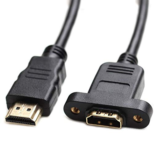 Bluwee HDMI Extension Cable High Speed HDMI Male to Female Extension Wire Cord HDMI Extender w/Screw Nut for Panel Mount - Gold Plated Plugs, Black (1FT)
