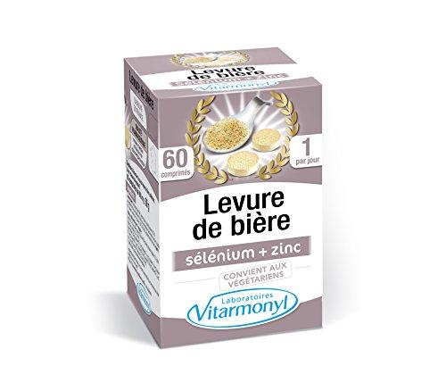 Vitarmonyl - Levure de bière Biotine Zinc Sélénium : peau, ongles, cheveux - 500 mg 1 seule gélule/jour - 60 comprimés - Fabriqué en France - Vegan