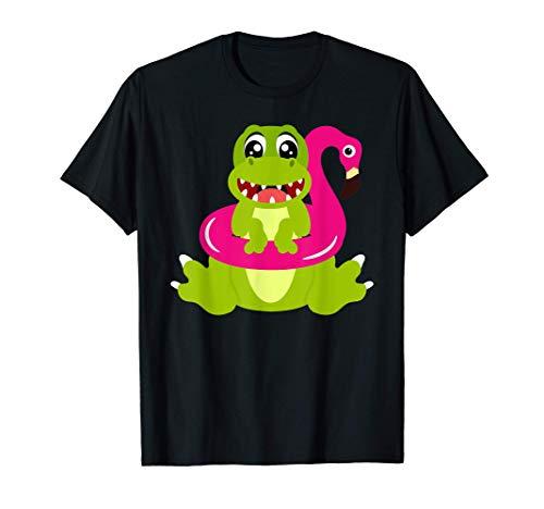 Dinosaurier Flamingo Schwimmreifen Tiere T-Shirt T-Shirt