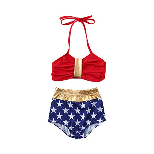 Kinder ärmelloses einfarbig Spitze Top + Pentagram Print Badehose Split Badeanzug Bikini YunYoud Badeanzug Baden Bikini Set Beach