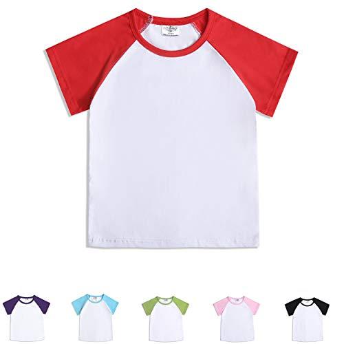 CREATOR Toddler Baby Girls Boys Short Sleeve Shirts Raglan Shirt Baseball Tee Cotton T-Shirt Red