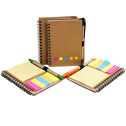 4 Pack Spiral Notebook Kraft Paper Cover Notepad Journal with Pen in Holder + Sticky Notes + Colored Index Page Markers Tabs Flags, Spiral Wire Bound for Work, Home or Holiday (A-Kraft)