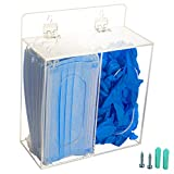 SEANADO Masks Dispenser Box Acrylic Glove Holder Hygiene Station with Lid for Disposable Face Mask Emesis Bag, Shoe Cover and HairnetWall Mount Holes or Tabletop Holder (Clear)