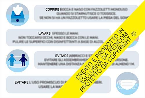Generico Cartello Covid 19'Regole di comportamento - 34x50 cm - 2 Pezzi - Adesivo per Interni