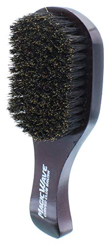 Black Ice Magic Wave Brush Curved Club Hard Premium Boar Bristles Hair # WBR002H