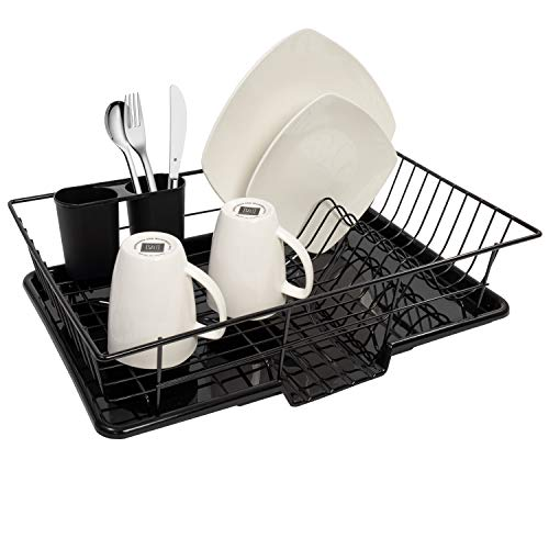Sweet Home Collection 3 Piece Rack Set Dish Drainer Drain Board and Utensil Holder Simple Easy to Use, 12' x 19' x 5', Black