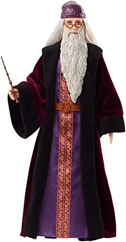 Harry Potter Poupée articulée Dumbledore de 30 cm en robe de sorcier en tissu avec baguette magique, à collectionner, jouet enfant, FYM54