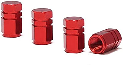 iJDMTOY (4 Tuner Racing Style Red Aluminum Tire Valve Caps (Hexagon Shape)