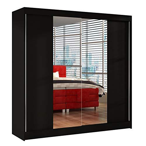 Schwebetürenschrank Basti II 200 cm mit Spiegel - Kleiderschrank, Schiebetürenschrank mit Kleiderstange und Einlegeboden, Schlafzimmerschrank, Schiebetüren, 200x215x58 cm (Schwarz)