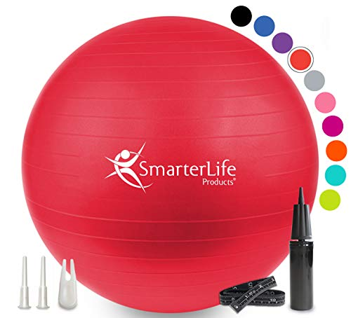 Exercise Ball for Yoga, Balance, Stability from SmarterLife - Fitness, Pilates, Birthing, Therapy, Office Ball Chair, Classroom Flexible Seating - Anti Burst, Non Slip + Workout Guide (Red, 45 cm)