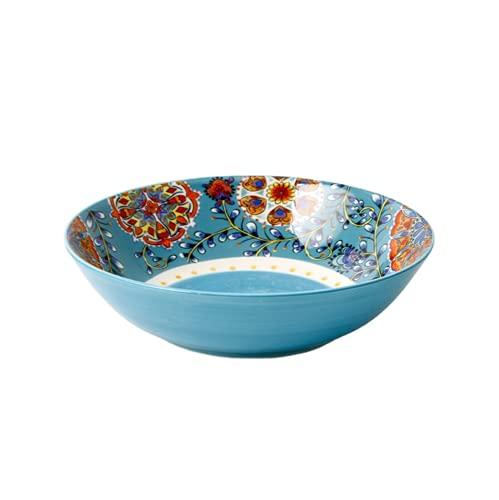 JONJUMP 11.5 pulgadas tazón cerámica vajilla estilo bohemio flores redondas hueso China hogar suministros de cocina vajilla