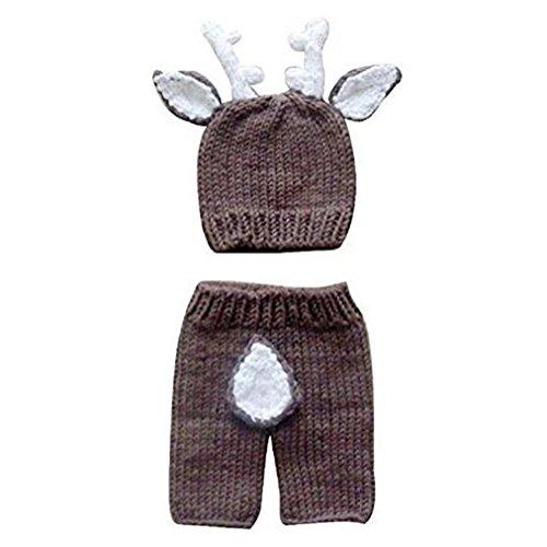 Highdas Niña y niño Recién Nacido 0-9 Meses lindo hecho a mano punto de ganchillo Sombreros animales ropa traje Fotografía Proposición equipo