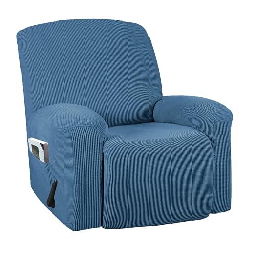 DWSM - Sofá de 1 plaza antideslizante para animales de compañía, extensible, grueso, reclinable, funda de sofá con bolsillo lateral antideslizante, lavable, funda de sillón (4)