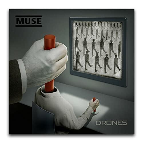 WPQL Muse - Drones Album Cover Rock star e rapper decorare musica moderna, soggiorno camera da letto, poster da parete 60 x 60 cm