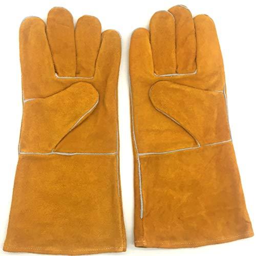 YUXINXIN lashandschoenen - hittebestendig en slijtvast - voor pruik / MIG zweters / open haard / barbecue / tuin / barbecue (14 inch, goud) (kleur: goud, maat: L)