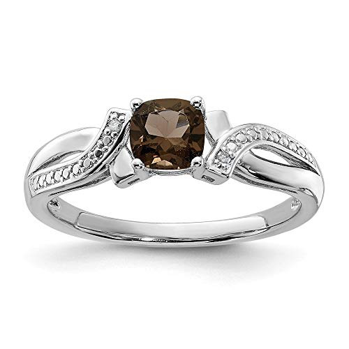 925 Sterling Silver Smoky Quartz Diamond Band Ring Size 7.00 Gemstone Fine Jewelry For Women Gifts For Her