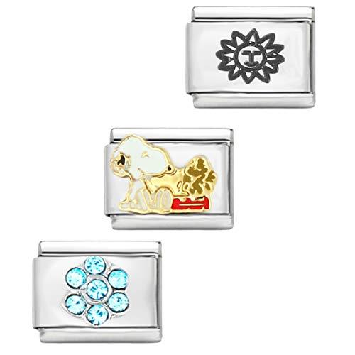AKKi jewelry Italian Charm 3 Set,für Classic Armband in Silber Italy Gold Edelstahl Links Glider Kult modele Blume Tiere Herz Basisarmband 9mm/18 Glieder N1