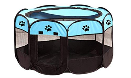FOEAQ pet Bed Portable Outdoor Indoor Kennels Fences Pet Tent Houses Foldable Playpen Indoor Puppy Cage Crate Delivery Room for Small Larg Dog S Blue