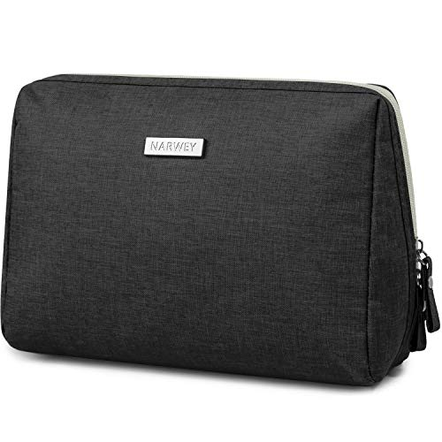 Large Makeup Bag Zipper Pouch Travel Cosmetic Organizer for Women and Girls (Large, Black)