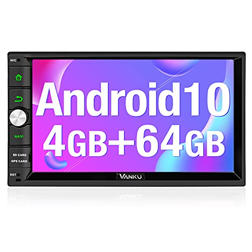 "Vanku Android 10 [ 4GB + 64GB] Radio 2 DIN, PX5 Autoradio GPS con Qualcomm BT 5.0, Navegador, Soporta Control Volante, WiFi, USB, SD, Mirror-Link, 4G, con 7"" Pantalla Táctil"
