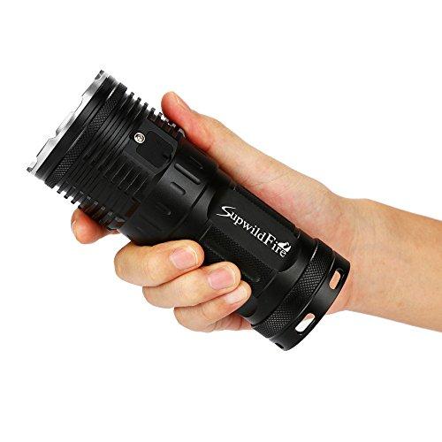 LED Taschenlampe 50000 Lumen, Gusspower 15 x XM-L T6 LED Digitalanzeige Superhelle LED wasserdichte Tragbare Fackel, 3 Einstellungen Hell, mit 4x18650 Wiederaufladbare Lithiumbatterien (Silber)
