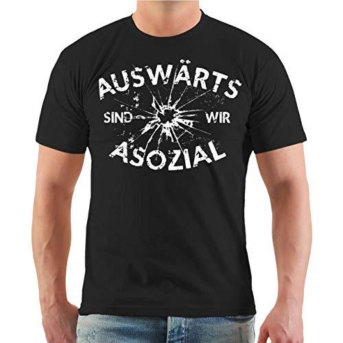 Männer und Herren T-Shirt Auswärts sind wir Asozial (mit Rückendruck) Größe S - 8XL