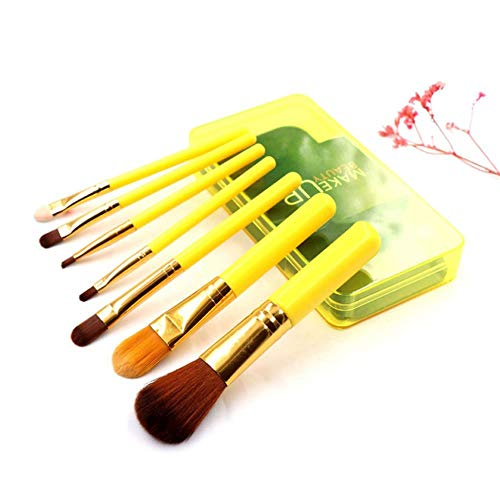 DQC 7 Makeup Brush Sets, Foundation Foundation Eyeshadow Brush with Plastic Boxed Cosmetic Beauty kit,Yellow