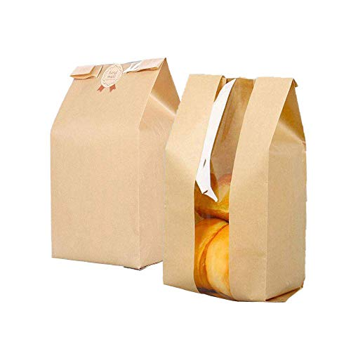 25 Pcs Brown Kraft Paper Bread Cookie Bag With Window,6.7x4.1x12.6 Inches Kraft Food Packaging Storage Bakery Toast Bag,Label Seal Sticker Included