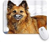 NIESIKKLAマウスパッド 雪のジャーマンシェパードの冬のかわいい犬 ゲーミング オフィス最適 高級感 おしゃれ 防水 耐久性が良い 滑り止めゴム底 ゲーミングなど適用 用ノートブックコンピュータマウスマット