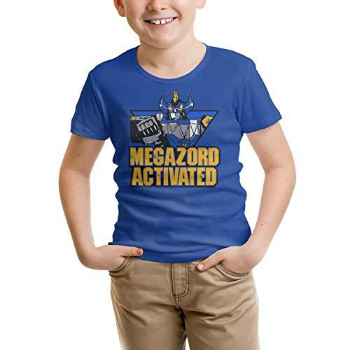 Kids Blue Power-Rangers-Megazord- Short Sleeve Mesh T-Shirts Tee