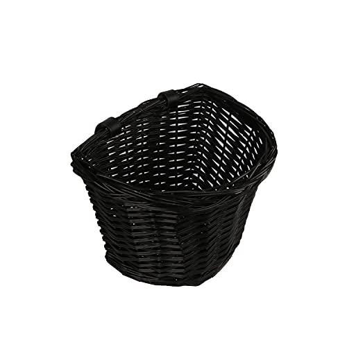 AVASTA Bike Basket,Front Handlebar Adult Storage Basket, Bicycle Accessories,Waterproof with Leather Straps,Size M,Black