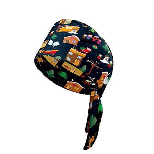 LIUBT - Berretto da lavoro con bottoni a forma di casetta di Babbo Natale, renna, regolabile, con fascia tergisudore, per donna, uomo e ragazzo, colore: nero