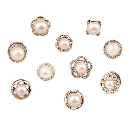 Joyci 10-Pack Women Shirt Brooch Buttons Lapel Pins Novelty Suit Vest Safety Buckle Metal Tie Tacks Pin Back Clutch (Pearl)