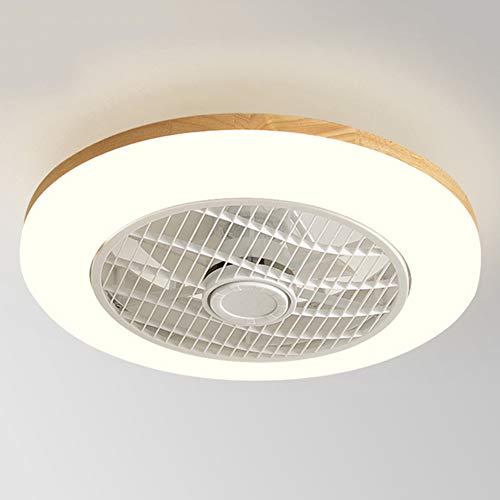 OUJIE Lámpara De Madera para Ventilador De Techo con Iluminación, LED De 32 W con Control Remoto/Aplicación Móvil, Velocidad Y Atenuación del Viento Ajustables, Techo Ultra Silenciosa,Round Style 3