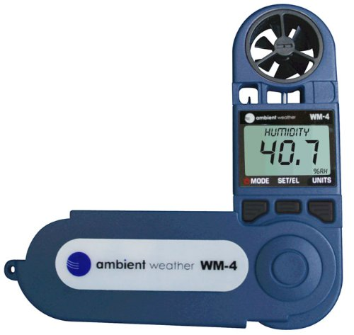 Product Image 2: Ambient Weather WM-4 Handheld Weather Station w/Windspeed, Direction, Temperature, Humidity, Compass, Dew Point, Comfort Index, Psychrometer