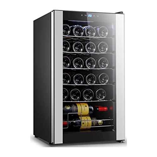 Taurus WC24C - Vinoteca para 24 Botellas, silenciosa, no vibra, Aislamiento Especial del Interior, Puerta de Vidrio, Temperatura Regulable, luz Interior, Negro