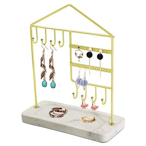 Soporte de exhibición de joyas, collar Anillo de collar Organizador de la bandeja de pendiente.Jowellery Organizer Stand, Rack de pantalla con bandeja de anillo, Soporte de joyería de metal decorativo