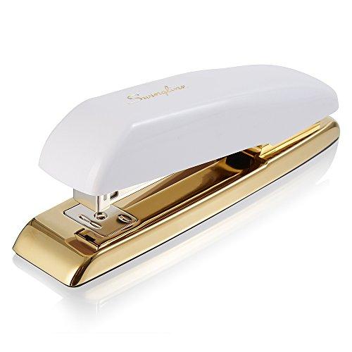 Swingline Stapler, Desktop Stapler, 20 Sheet Capacity, White/Gold (64701)