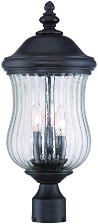 wholesale Acclaim 39717BC Bellagio Collection 3-Light high quality Outdoor Light high quality Fixture Post Lantern, Black Coral outlet online sale