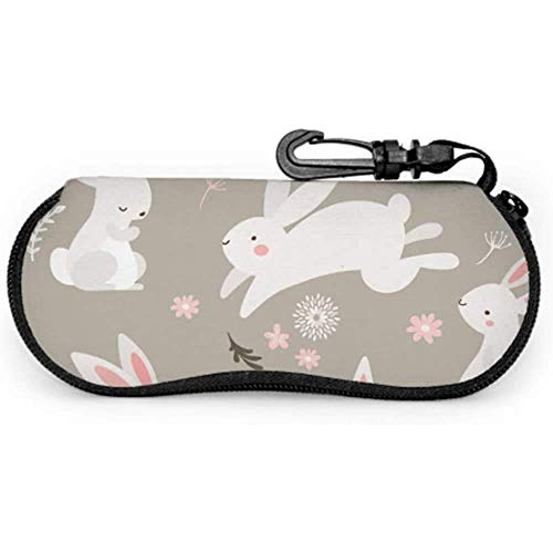 Conejo Conejo lindo Pintado Animal Niños Gafas de sol Estuche de gafas de sol suave Estuche suave de cremallera portátil Estuche de gafas de sol para niños