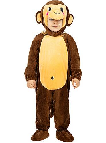 Funidelia | Disfraz de Mono para bebé Talla 0-6 Meses ▶ Animales, Chimpancé, Gorila - Color: Marrón - Divertidos Disfraces y complementos para Carnaval y Halloween