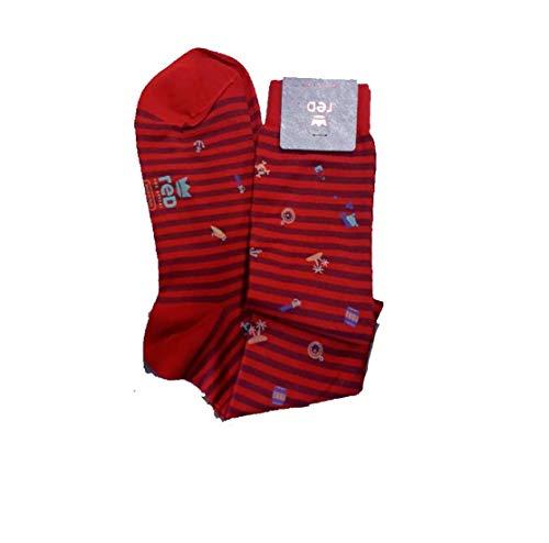 Red Calcetín largo para hombre de algodón con fantasía con rayas color fuego / mago talla 40-45 Art.62436DS