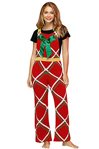 Christmas Women's Cold Shoulder Wide Leg Jumpsuit Ugly Loose Knit Sweater Red Plaid Stripe M