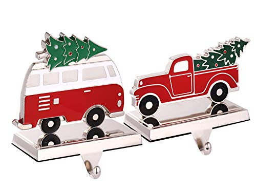 Set of 2 Christmas Stocking Holder for Mantel Christmas Decoration,Metal Red Truck with Christmas Tree Stocking Hangers for Fireplace Xmas Decoration Supplies (Truck and Bus)