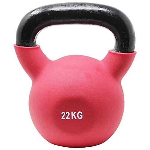 POWRX Kettlebell Hierro Fundido 22 kg - Pesa Rusa con Revestimiento de Neopreno + PDF Workout (Rojo Oscuro)
