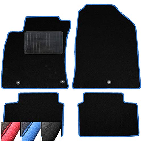 moto-MOLTICO Fußmatten Auto Velours Autoteppiche Schwarz Automatten Set 4-teilig passend für Hyundai Grand Santa Fe ab 2014 (Blaue - Ziernähte)